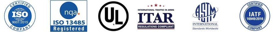 ISO ITAR IATF ASTM certification logos
